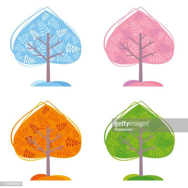 ilustraciones, imágenes clip art, dibujos animados e iconos de stock de four seasons árboles - las cuatro estaciones