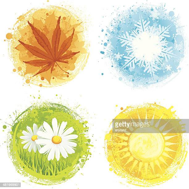 four seasons - season stock illustrations