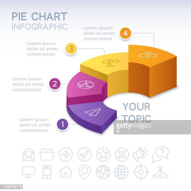 vier teilige 3d-infografik-tortendiagramm - bildschirmpräsentation stock-grafiken, -clipart, -cartoons und -symbole