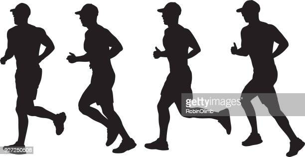 four silhouettes of a man running - athlete stock illustrations