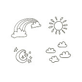 Four sky weather icons.