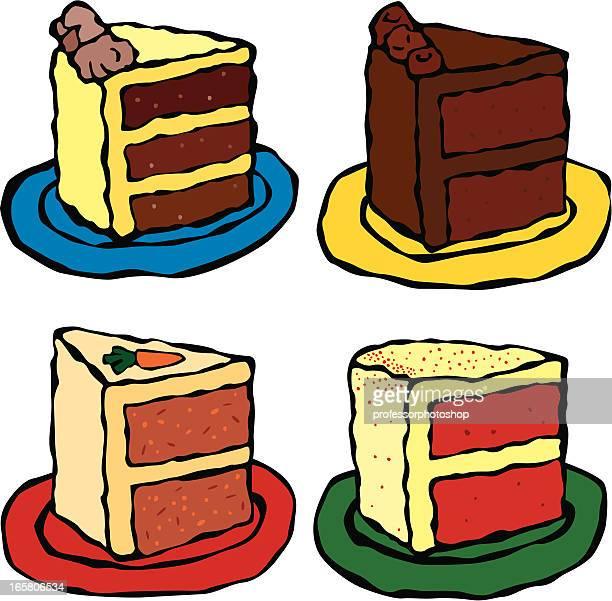 4 つのスライスのケーキ