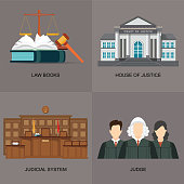 Four square flat law icon set with judicial system.