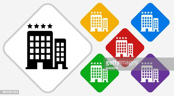 Four Star Hotel Color Diamond Vector Icon