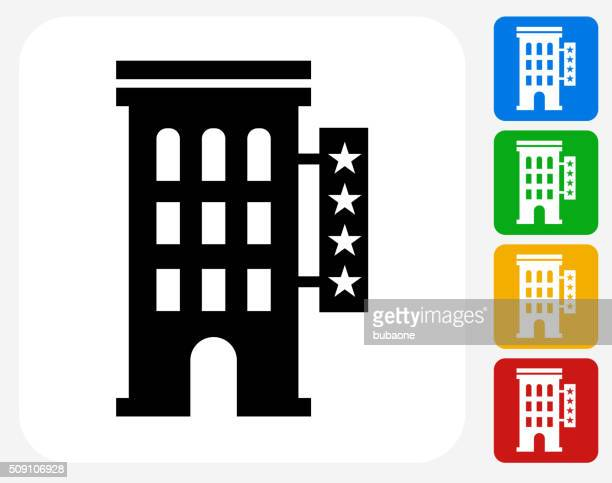 Four Star Hotel Icon Flat Graphic Design