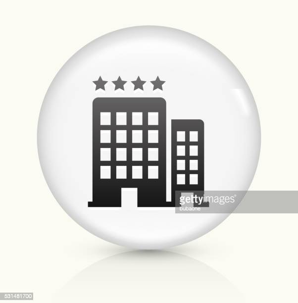 Four Star Hotel icon on white round vector button