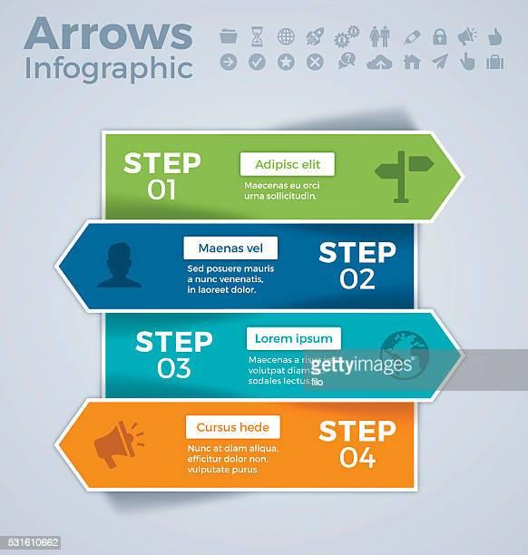 Four Step Arrows Infographic Concept