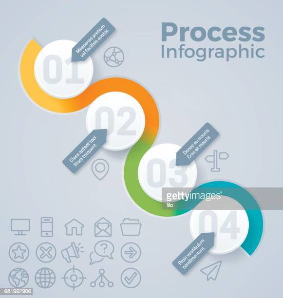 four step circle infographic - four objects stock illustrations