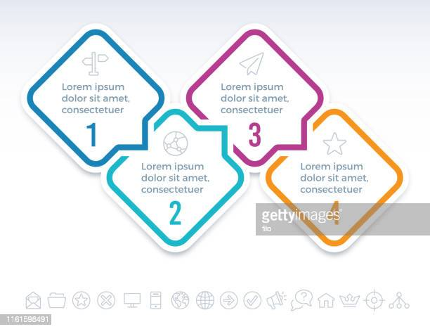 four step infographic communication - steps stock illustrations