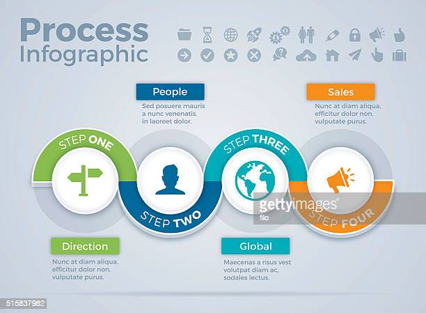 four step process infographic - thoroughfare stock illustrations, clip art, cartoons, & icons