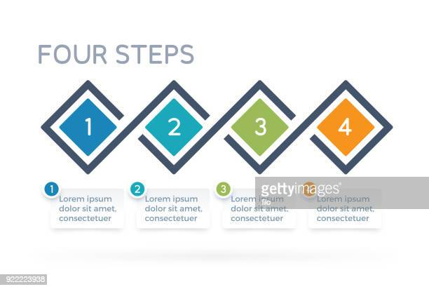 four step process infographics - four objects stock illustrations