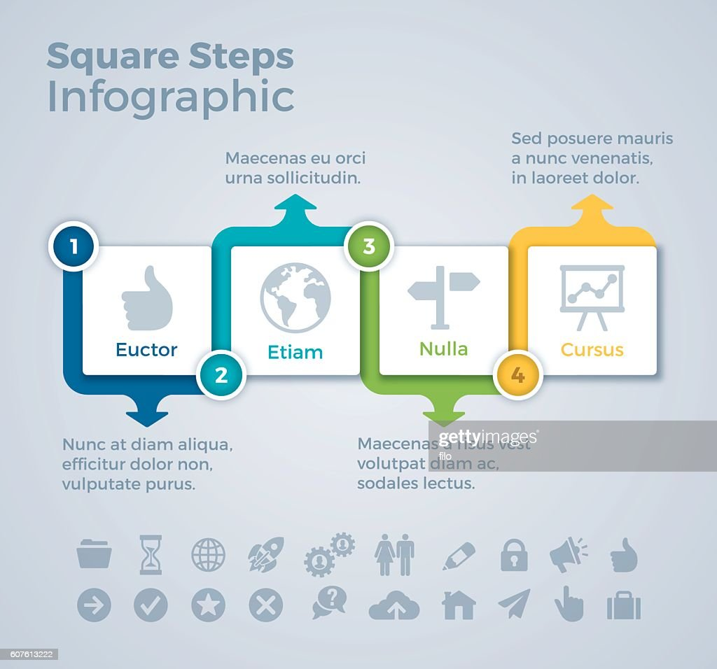 Four Step Squares Infographic Concept
