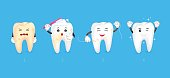 Four steps of cleaning tooth.