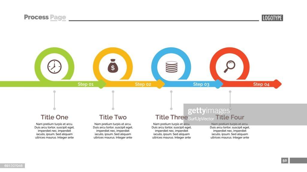 four steps timeline slide template vector art getty images