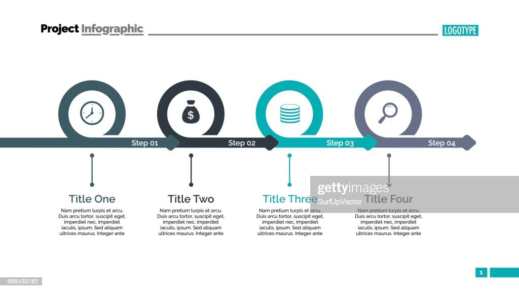 4 つのステップのタイムラインのスライドのテンプレート ベクトルアート