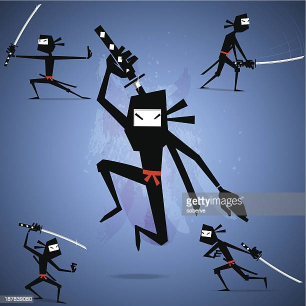 Four stick figure-like ninjas with action poses