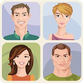 Four style male and female portraits with different emotions.