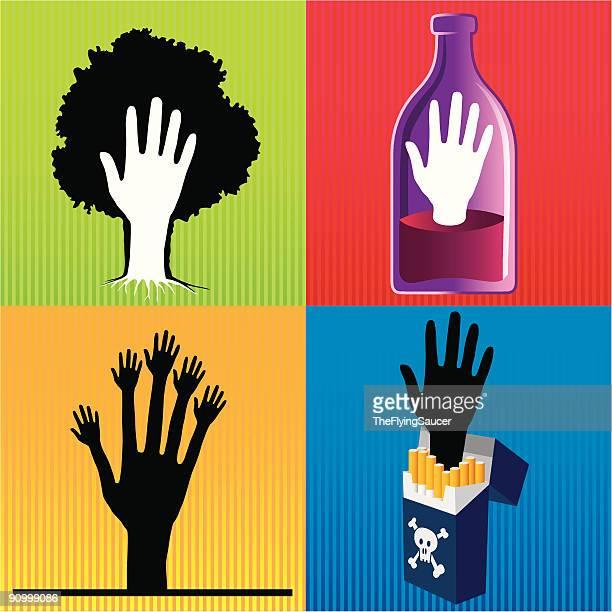 Symbole avec quatre mains