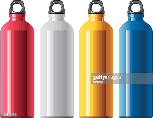 four tall aluminum water bottles in different colors - metal stock illustrations
