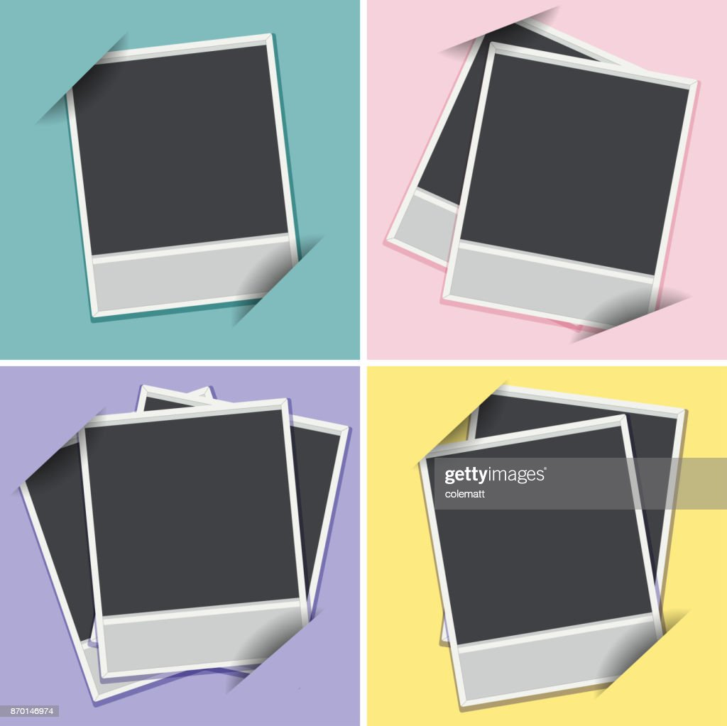 Four templates of photoframes on different background colors