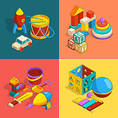 Four thematic groups of preschool children toys. Vector isometric illustrations