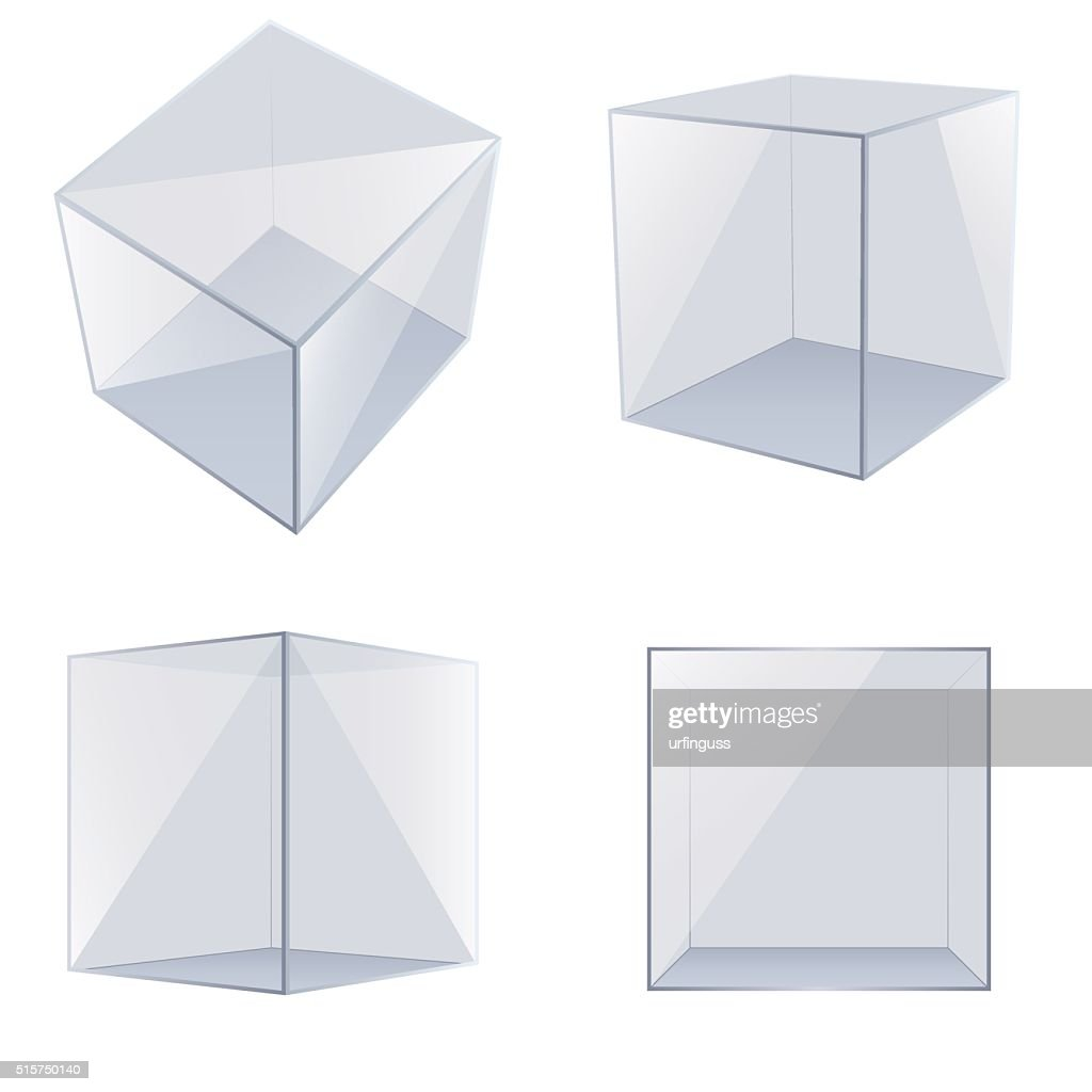 Four transparent glass cubes.