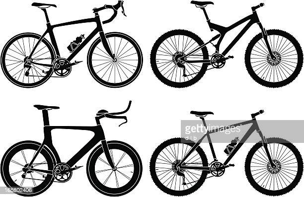 four types of bikes - racing bicycle stock illustrations