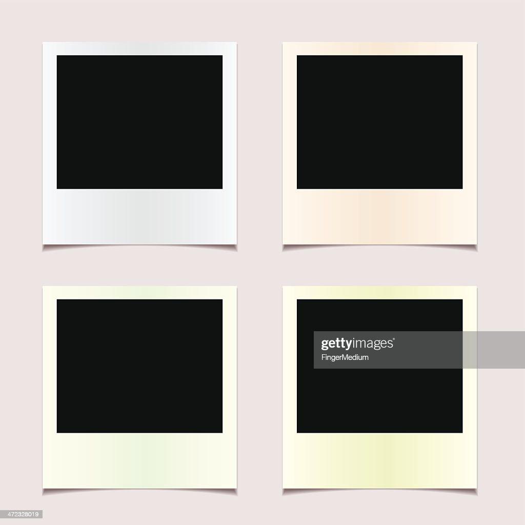Four undeveloped Polaroid photos : stock illustration