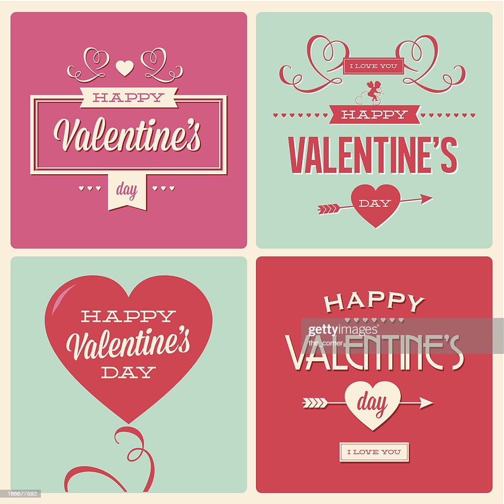 Four Valentine's Day card graphics with text