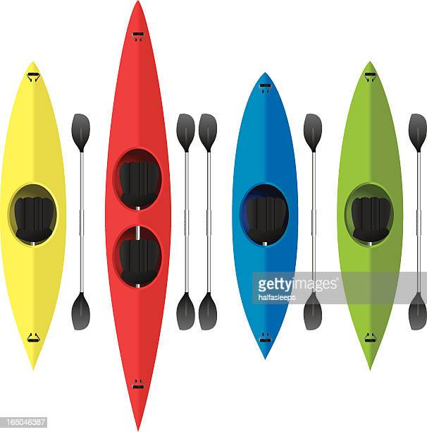 Four vector designs of colorful kayaks