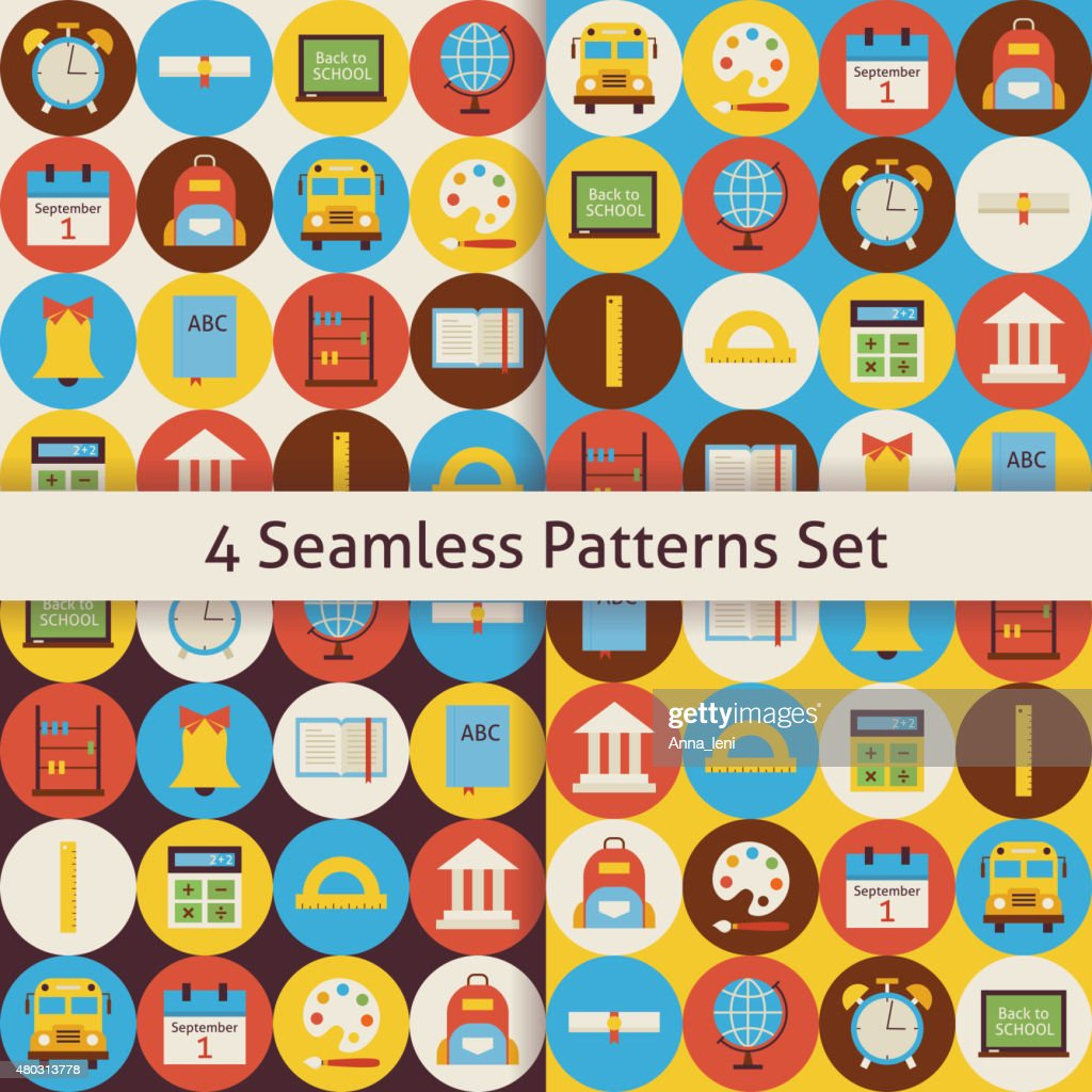 Four Vector Flat Seamless Back to School Patterns Set