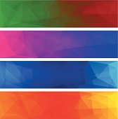 Four vector polygonal backgrounds for banner 3.