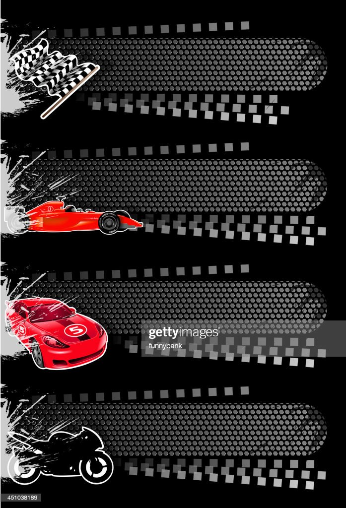 Four vector sport banners including cars : stock illustration