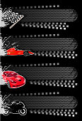 Four vector sport banners including cars