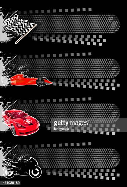four vector sport banners including cars - rally car racing stock illustrations, clip art, cartoons, & icons