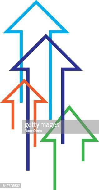 Vier verticale pijlen-pictogram