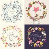 Four vintage floral cards