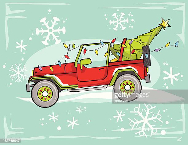 four wheel drive christmas - jeep stock illustrations