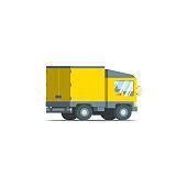 Four wheel yellow transport truck closed. Flat vector design illustration.