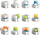 Four White Cube Icons