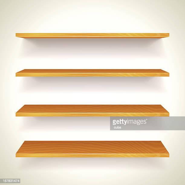 木製のブックシェルフ - 書店点のイラスト素材/クリップアート素材/マンガ素材/アイコン素材