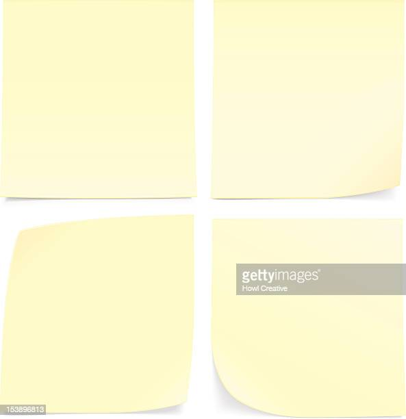 four yellow sticky notes on a white wall - post it stock illustrations, clip art, cartoons, & icons