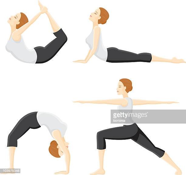 four yoga poses - dipping stock illustrations, clip art, cartoons, & icons