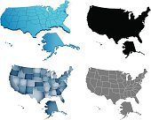 Fours styles of depicting the USA map