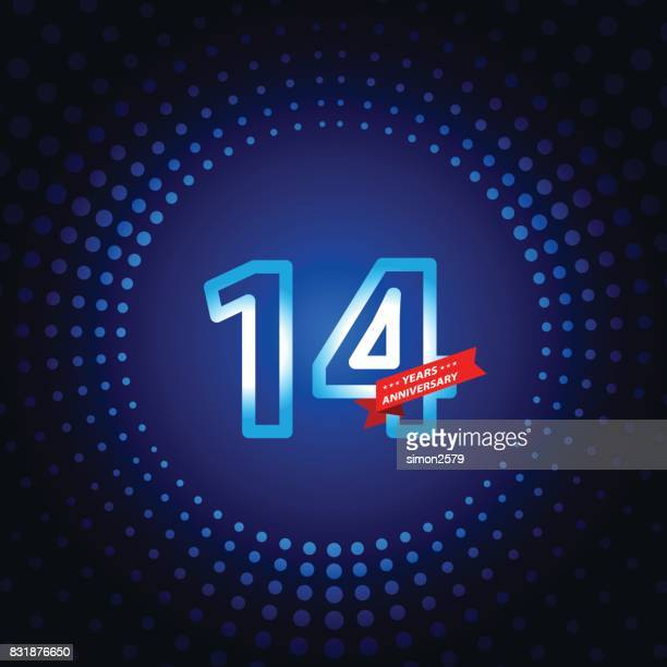 fourteen years anniversary icon with blue color background - 14 15 years stock illustrations