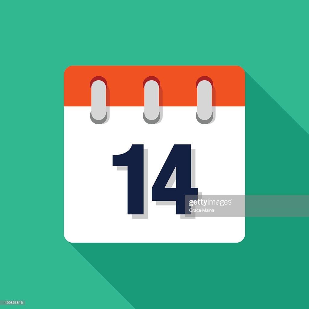 Fourteenth Flat Design Calendar Icon - VECTOR