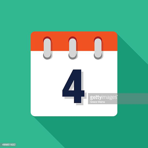 stockillustraties, clipart, cartoons en iconen met fourth flat design calendar icon - vector - day 4