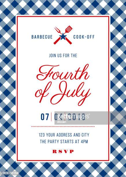 fourth of july bbq party invitation - illustration - day stock illustrations, clip art, cartoons, & icons