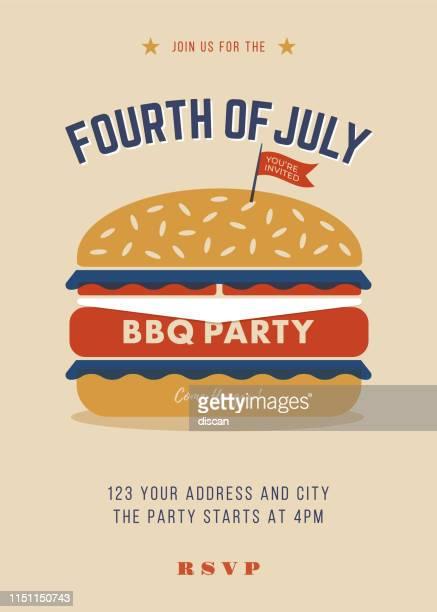ilustrações, clipart, desenhos animados e ícones de quarto do convite do partido do bbq de julho. modelo - hamburger