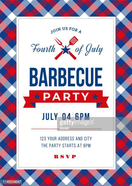 fourth of july bbq party invitation. - picnic stock illustrations
